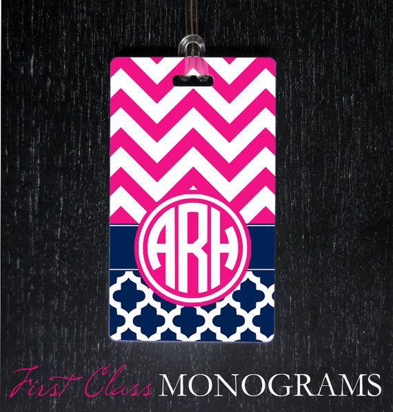 Preppy Monogram Luggage Tag Baggage Tag for by FirstClassMonograms