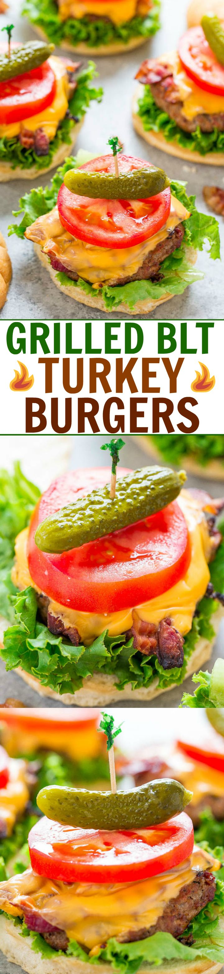 Grilled BLT Turkey Burgers - JUICY burgers topped with cheese, bacon, lettuce, and tomato!! EASY, ready in 15 minutes, and perfect for summer parties!! Healthier than beef and IRRESISTIBLE!!