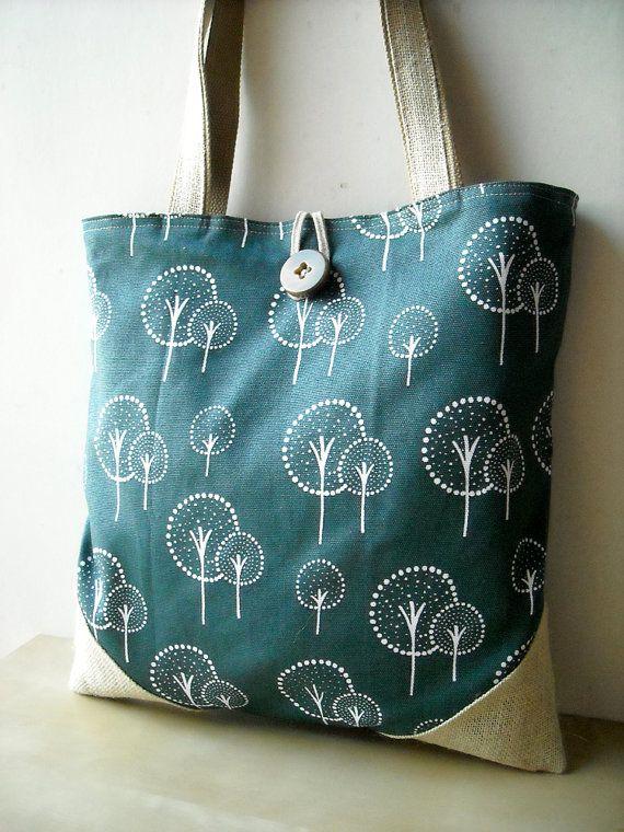 Tree Navy Tote Bag - Handmade Bag by #CharmDesign on #Etsy.