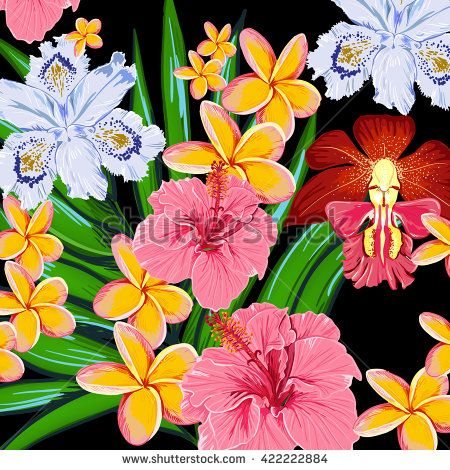 Tropical Flowers Vector Pattern