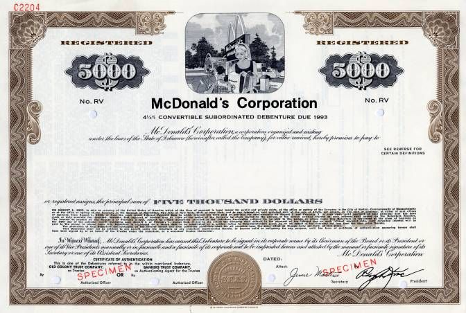 McDonald's Corporation Convertible Bond - (Ray Kroc as President)  - Specimen 1968