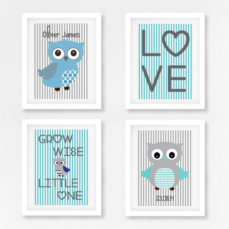 Owl Nursery Print, Baby Boy Nursery Decor, Owl Nursery Art, New Baby Gift, Blue and Grey Nursery Print, Personalized Birth Print, by PerfectLittlePrints on Etsy https://www.etsy.com/listing/205029032/owl-nursery-print-baby-boy-nursery-decor