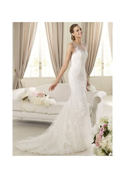 Lace Illusion Jewel Neckline Mermaid Style with Appliques Throughout the Skirt 2013 Wedding Dresses - Wedding Dresses - Wedding Dresses Shop