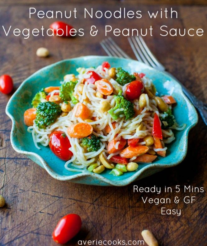 Peanut Noodles with Mixed Vegetables & Peanut Sauce. Make in 5 mins, vegan, GF. Peanut sauce just makes everything better
