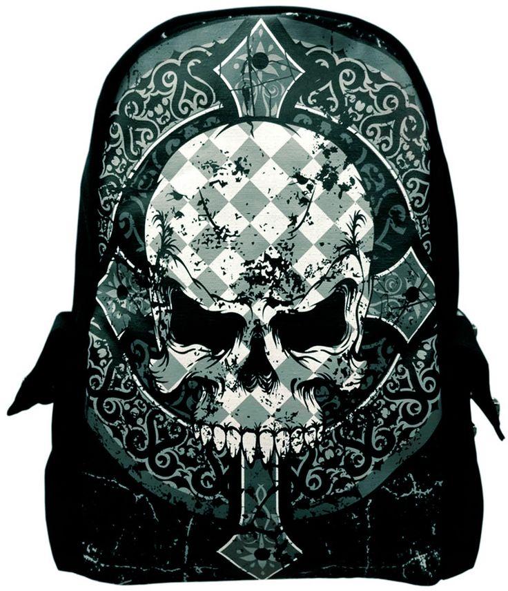 Mochila Gótica Calavera de Banned #backpack #goth #skull #cruz #cross #xtremonline