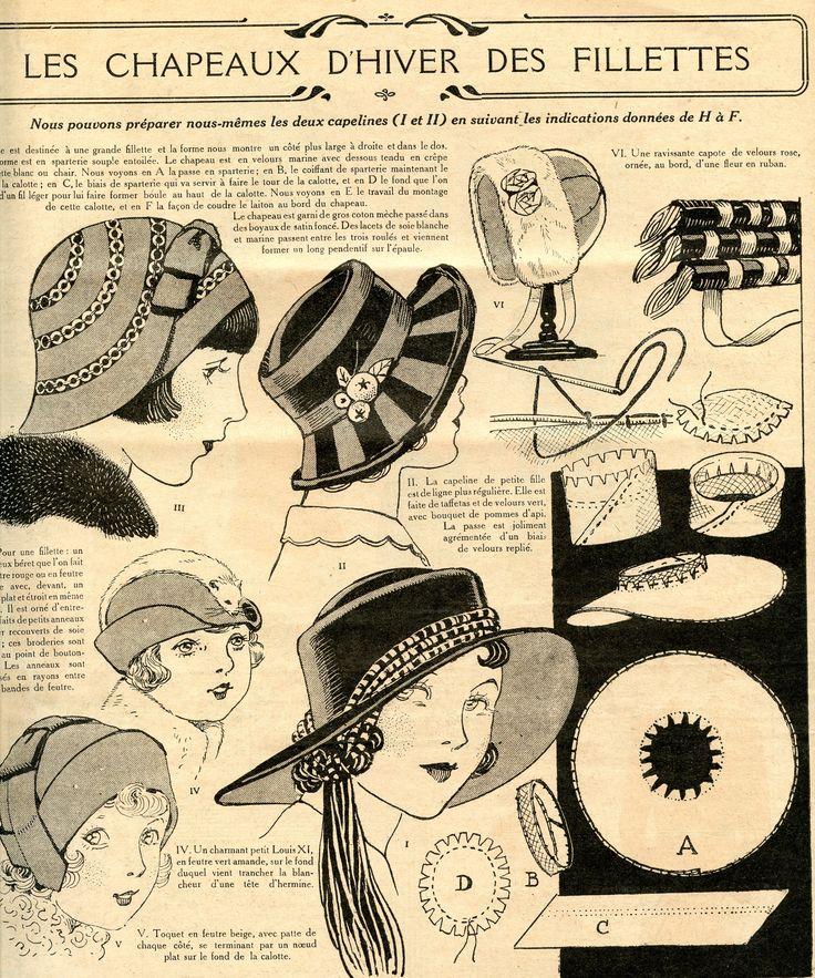 La mode française - 17ème année - nouvelle série n° 43 - 25 octobre 1931 - modèles de chapeaux pour fillettes.