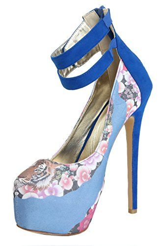 ''High as the sky'' tiger face in floral by Honeystore www.purrfor.me Your every purchase buys one meal for a feral cat! #heels #sexy #floral #femnin #womenshoes #women @kittypurring
