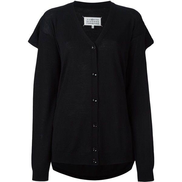 Maison Margiela draped back cardigan ($388) ❤ liked on Polyvore featuring tops, cardigans, black, v-neck cardigan, button front cardigan, wool tops, maison margiela cardigan and v neck cardigan