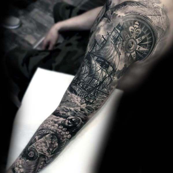Sleeve Ink Tattoo Arm Color Tattoo Mermaid Saint: 40 Nautical Sleeve Tattoos For Men