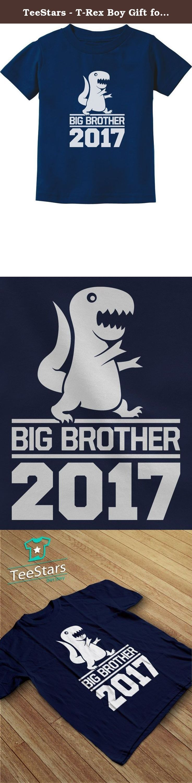 TeeStars - T-Rex Boy Gift for Big Brother 2017 Toddler/Infant Kids T-Shirt 4T Navy. T-Rex big boy - Best gift idea for big brother! Birth announcement, baby shower, birthdays, Christmas present for son / grandson. Cute little kids Tee. Premium quality, short sleeved t-shirt. preshrunk 100% combed-cotton knit, machine washable. Available in a wide variety of colors and sizes: Infant sizes: 6 - 24 Months / Toddler sizes: 2T-7T. Choose the size and color options from the drop-down list…
