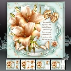 Cream Bouquet of Lilies Card Mini Kit on Craftsuprint - View Now!