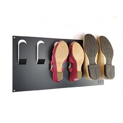 Stylish Wall Mounted Shoe Storage Rack by The Metal House (Black): Amazon.co.uk: Kitchen & Home