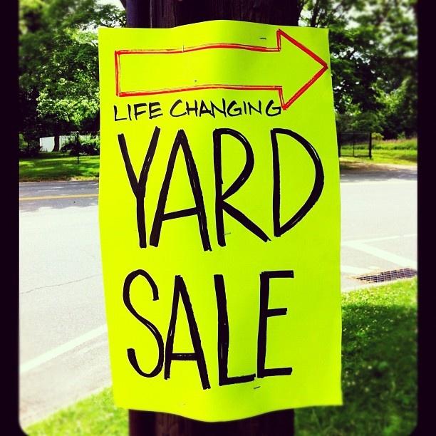 Intriguing yard sale sign in the Hamptons #Hamptons #MichaelAram