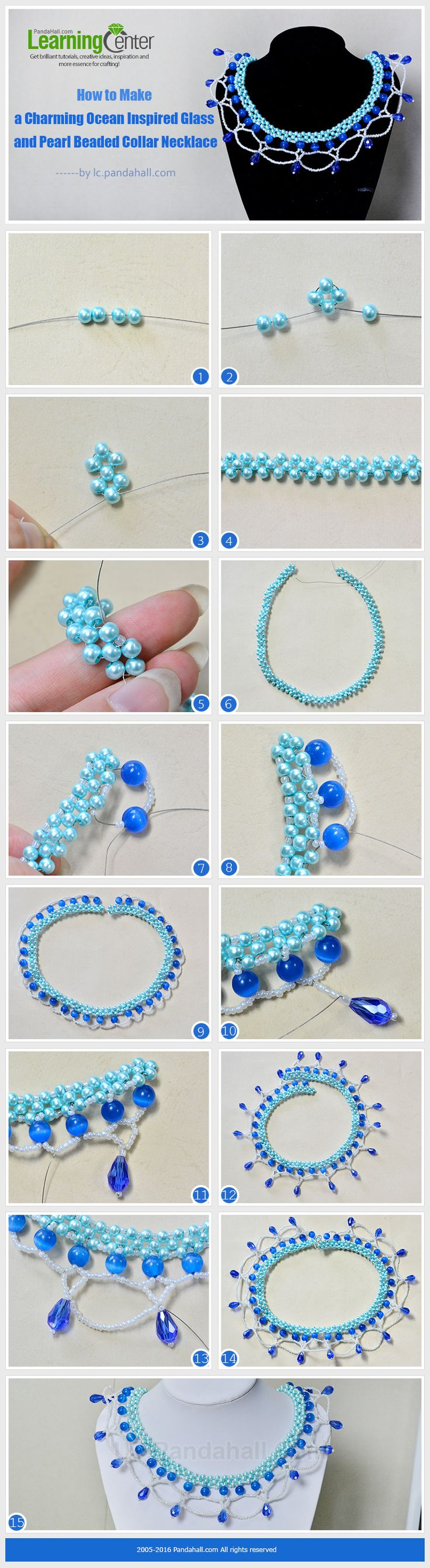 How to Make a Charming Ocean Inspired Glass and Pearl Beaded Collar Necklace from LC.Pandahall.com