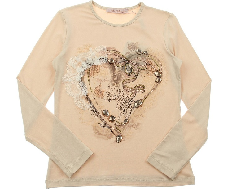 Miss Blumarine Junior Girls Peach Diamante & Lace Heart Print Top £72.10