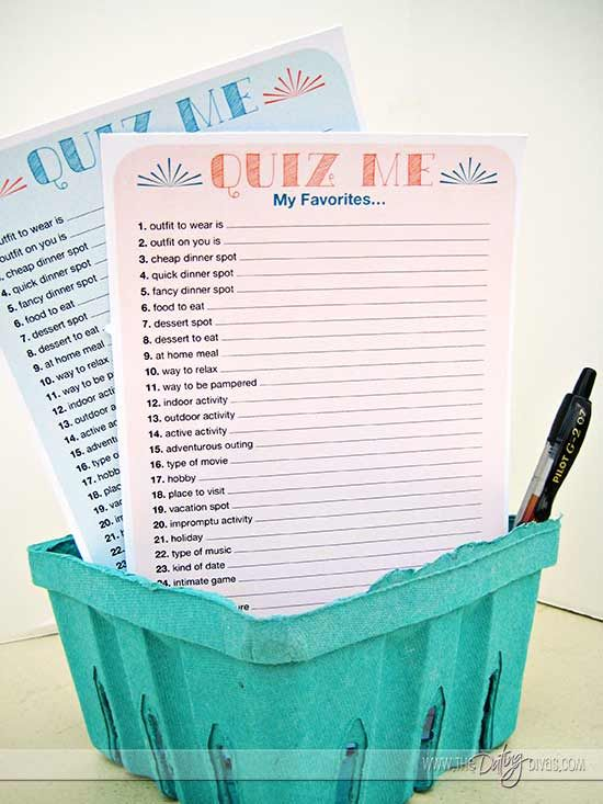 Date Night Interview & Quiz Printable KIT- stick in with his favorite beverages, movie, nuts & popcorn