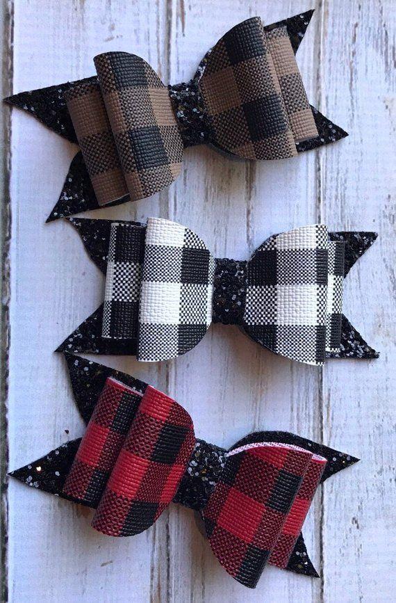 Buffalo Plaid and Black Glitter Bow Hair Clip, Your Color Choice, Girls Hair Cli…