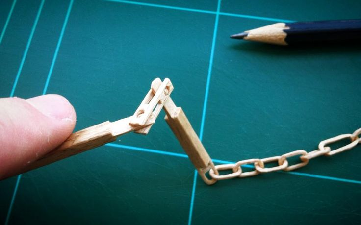 Double Hinge & chain from wooden stick [work in progress]
