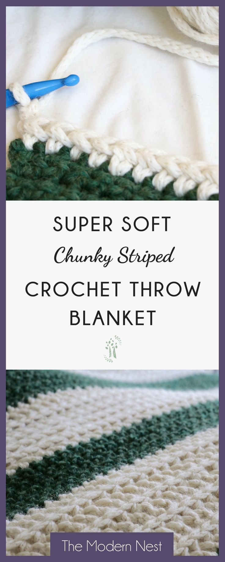 This pattern for a soft chunky striped crochet throw blanket is super fun and easy! A great pattern (with photos!) for beginners! Get the pattern at https://www.themodernnestblog.com/archives/888