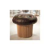 Il muffin extra large in pelle e legno è il pouff di design firmato Matteo Bianchi per Daruma Design.