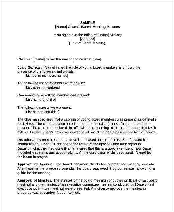 church meeting minutes templates minutes templates pinterest