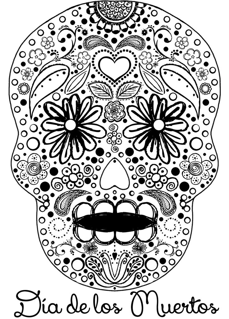 celebrate the day of the dead with scrapbook paper arts and other crafts activities scrapbook paper artcoloring sheetscoloring - Sugar Skull Coloring Pages Print