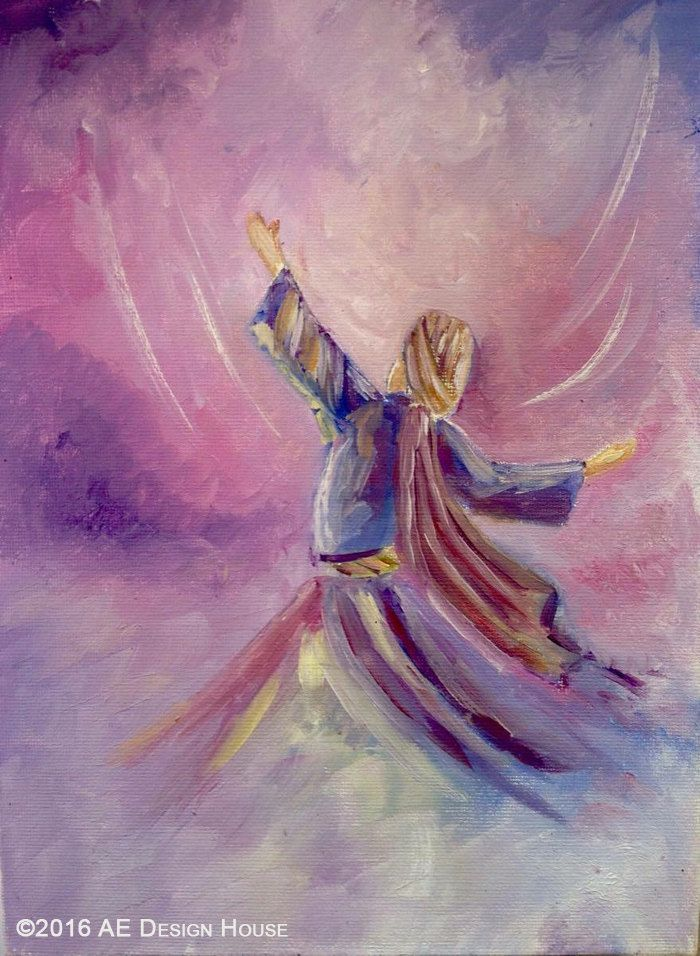 Original Painting Whirling Dervish Sufi Dance Rumi by AEDesignHouse on Etsy. Islamic mysticism.