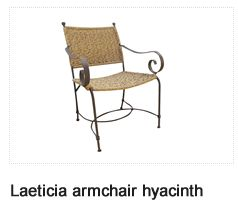 Laeticia Natural Water Hyacinth Textured Armchair. Patio Furniture. Outdoor Furniture, Aluminum & Polycane.