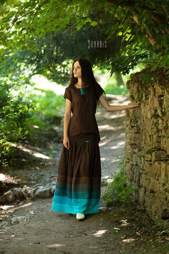Купить Льняная двойка «Темный шоколад с бирюзой» - коричневый, юбка, льняная юбка, юбка из льна
