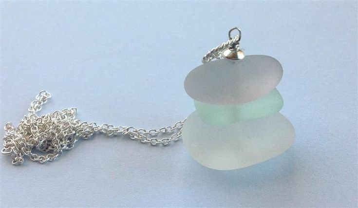 Discover Me : Firecracker Studio : Silver and Sea - rare lilac and ice blue sea-glass 3 stack sterling silver necklace