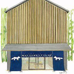 メゾン キツネ、代官山に路面店オープン - 和モダンな空間、限定のスウェットやTシャツが登場の写真1