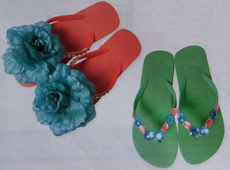 Hoe teenslippers versieren  Bron: libelle.be/creatief/slippers-pimpen