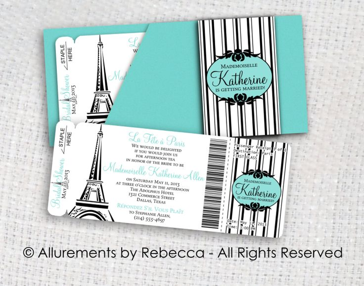 Paris Boarding Pass Invitations Tiffany by AllurementsByRebecca, $50.00 would prefer pink & black instead of Tiffany blue