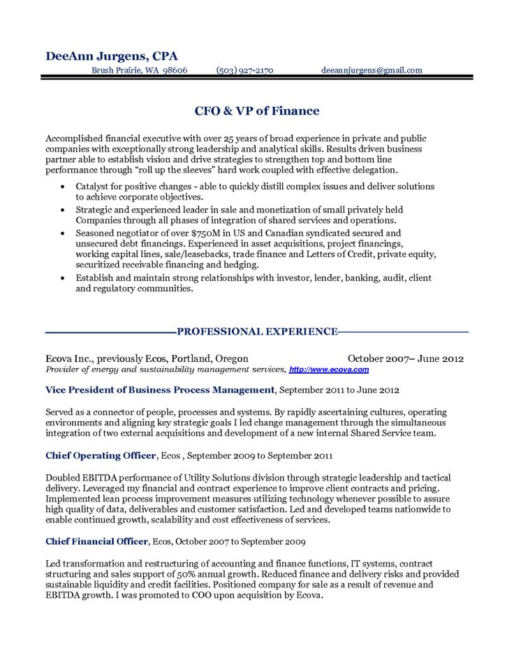 27 best Resume Samples images on Pinterest Career, Resume and - chief financial officer resume
