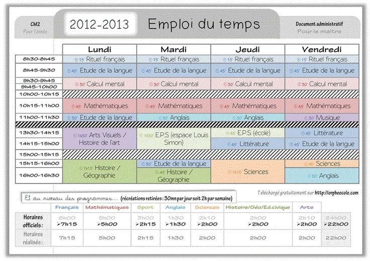 Emploi du temps d'un élève de CM2 (10-11 ans)
