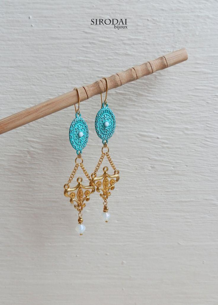 Серьги. Длина-8,5см. Цвет патины ближе к зеленому. Фурнитура для бижутерии. #earrings #handmadeearrings #серьгиручнойработы #патина #bohemianjewelry #богемныйшик