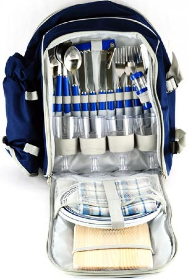 Picnic Backpack Includes: Four Place Settings with Plates, Cutlery, Glasses, Napkins, Salt & Pepper Set, Cheese Board, Waiters Friend, Wine Cooler and Cooler Bag Compartment  Colour:Blue Material: 600D Size: 42 (l) x 30 (w) x 19 (d) Branding Mathods:Dome Sticker  (Default Method) , Silk Screening