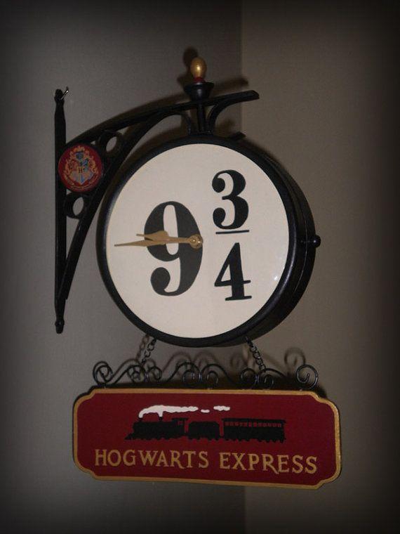 OOAK Harry Potter Hogwarts Express Platform 9 3/4 Wall Clock