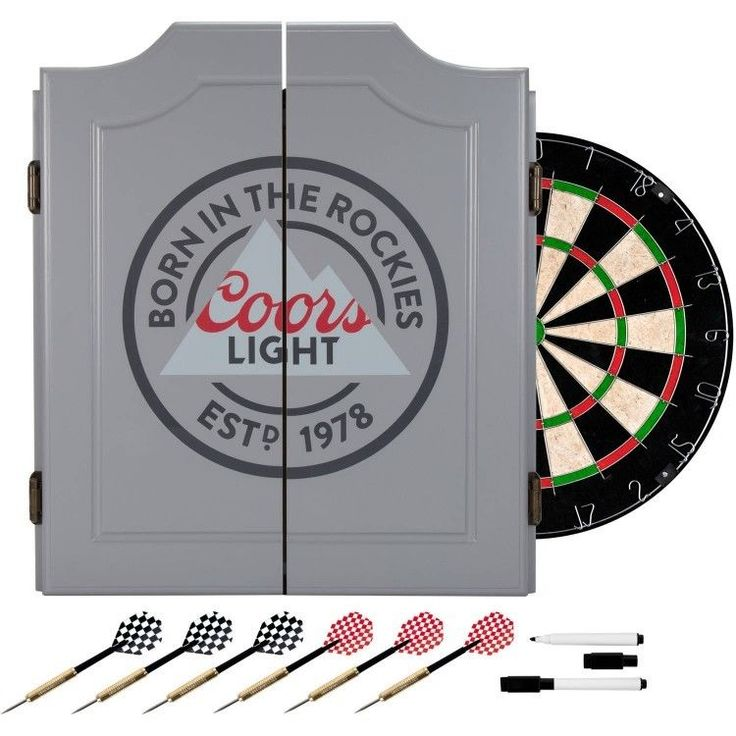 Coors Dart Board Set with Cabinet 6 Steel Tip Darts and Sisal Fiber Dartboard #TrademarkGlobal