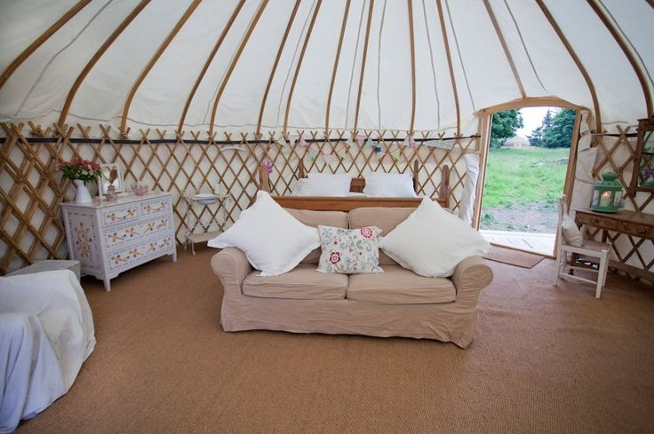 Inside one of our beautiful LPM Bohemia yurts at our Irish glamping site Hare's Leap, Rock Farm Slane where you'll discover luxury accommodation for adventurers & idlers within an hour from Dublin - http://www.lpmbohemia.com/boutique-camping/hares-leap-campsite/