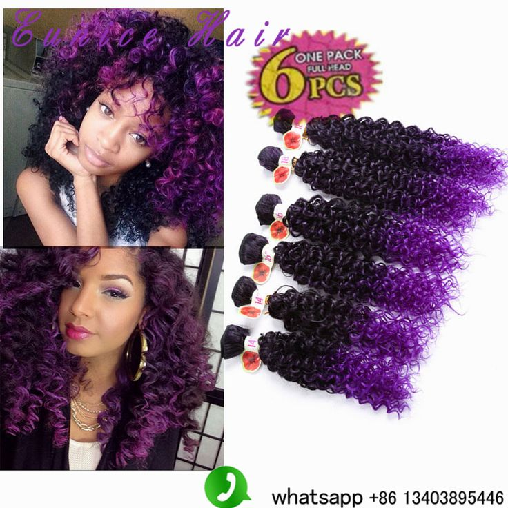 20 best 6pcs synthetic hair deep wavekinky curly images on dark purple jerry wavy 6pcslot ombre purple jerry curl synthetic hair pmusecretfo Choice Image