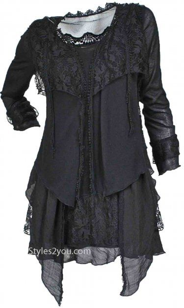 Layered victorian vintage blouse in black and many other colors at Styles2you.com