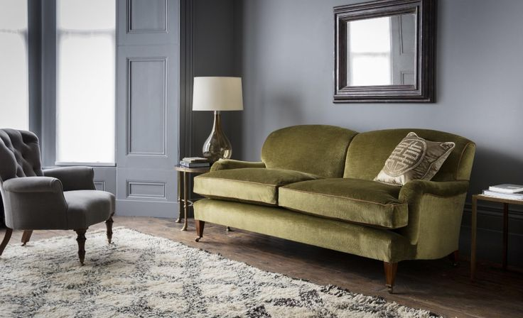 The Brooke 2.5 Seater Sofa pictured here in Troilus, Lichen (green) is a stunning addition to a modern living room. The sofa is elegantly proportioned and exceedingly comfortable, the Brooke provides a classic yet contemporary interior style.