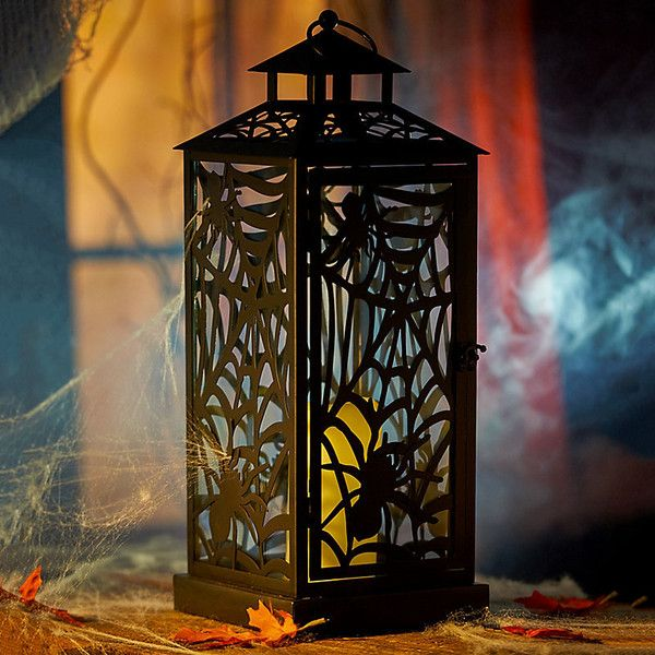 Improvements Spooky Spider Halloween Lantern ($35) ❤ liked on Polyvore featuring home, home decor, battery operated, faux candle holder, prelit halloween decorations, outside home decor, outside lanterns, battery powered outdoor lanterns, goth home decor and halloween home decor
