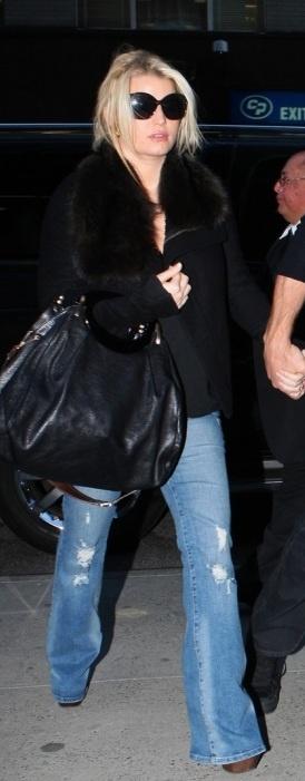 Purse - Marni Jacket - Roberto Cavalli Jeans - Jessica Simpson Sunglasses and shoes - Miu Miu