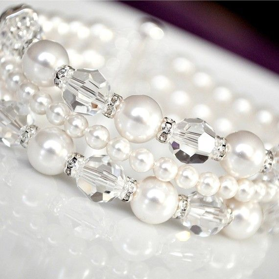 white glass pearls & crystals 3 strand memory wire bracelet
