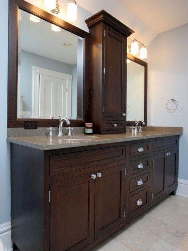 Dark Wood Bathroom Vanity Ideas, Dark Brown Wood Bathroom Mirror
