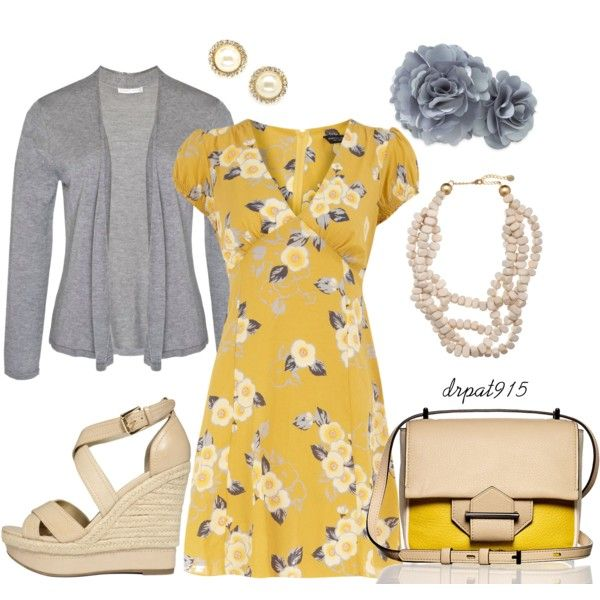 Buttercup, created by drpat915 on Polyvore: Fashion Passions, Darling Dresses, Casual Style, Beauty Style Fashion, Dream Closet, Grey Outfit, It S Retro Inspired, Casual Dresses, Dressy Outfits