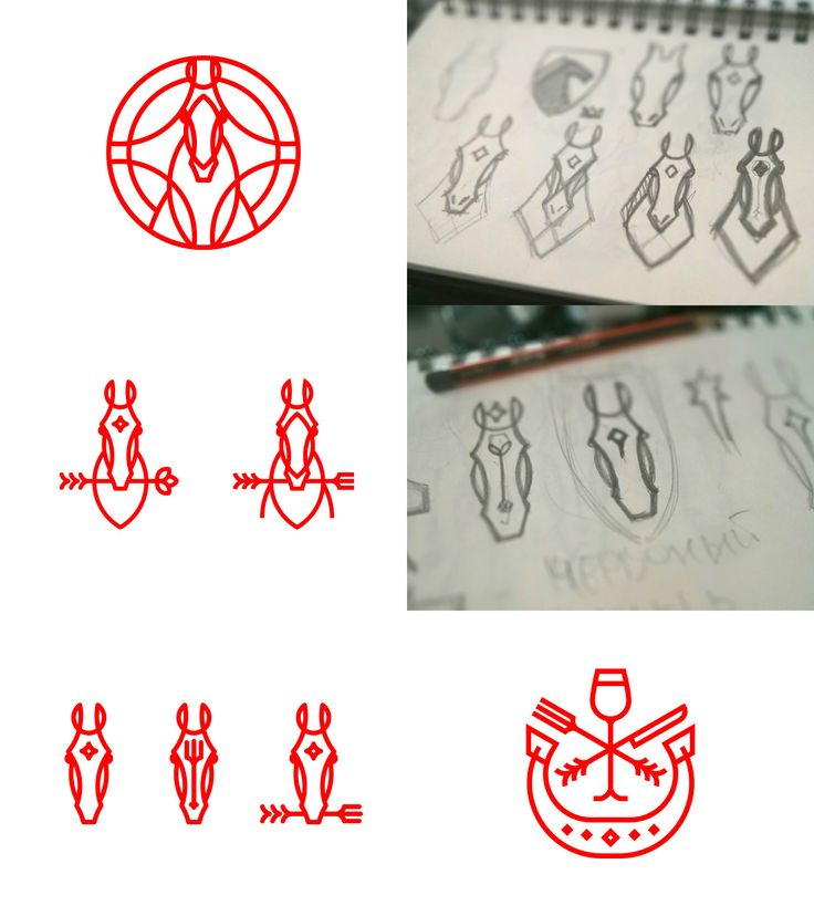 Red horse logo variations