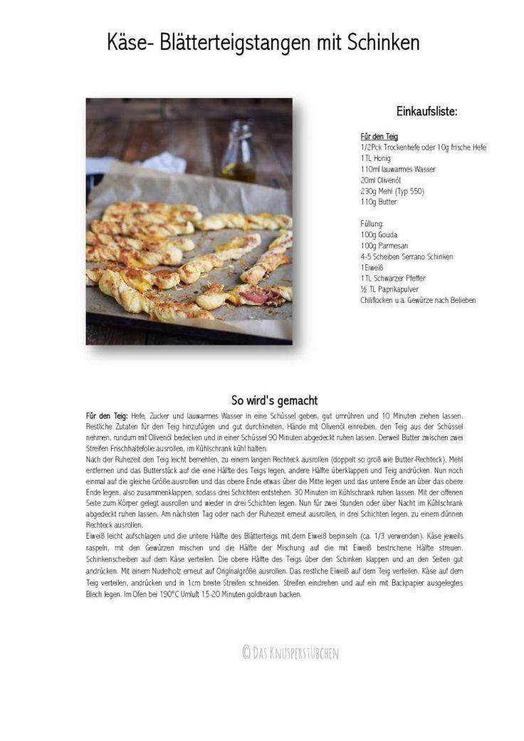 Käse Blätterteig Stangen mit Schinken - Das Knusperstübchen
